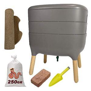 WormBox Urbalive Gris, Kit Complet I Lombricomposteur Design I 250gr de vers de Compost I Substrat de démarrage I Tapis de Chanvre + Pelle I Intérieur, Balcon et Jardin