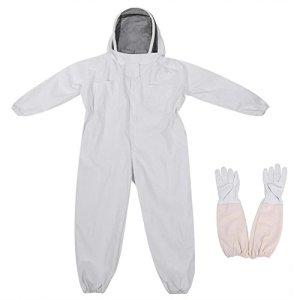 Zerodis Apicole Costume Équipement de Protection Professionnel Anti Abeille avec Longs Gants et Capuchon en Voile pour Apiculture Apiculteur – Blanc (XXL)