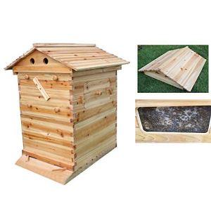 ZJDU Maison D'abeilles 65 X 43 X 23 CM Maison D'insectes en Bois Ruche Apicole,Facile À Accrocher – Ruche en Bois Naturel pour Abeilles -Idée De Cadeau De Noël