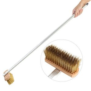 Zoternen Balai en fil métallique, long manche, brosse de nettoyage pour four à pizza, brosse à poils métalliques pour restaurant, jardin, allée