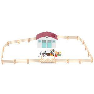 03 Simulation 11,4 x 7,5 Pouces Ensemble de Jeu de Ferme, Figurines d'animaux de Ferme Bricolage, Cadeaux d'anniversaire Cadeaux de Noël Bricolage Jouet pour Enfants(House Set (Brown Fence))
