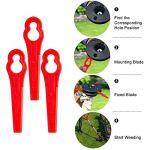 Aesy Lot de 100 Lames en Plastique de Rechange pour Coupe Bordure Florabest LIDL,Longueur 83mm (Rouge)