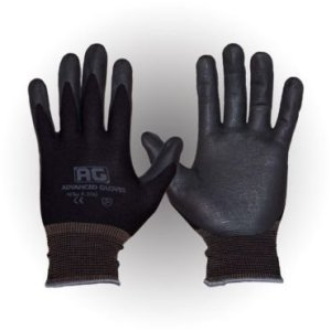 AG NITEX P-200 Lot de 12 paires de gants de travail avec revêtement en mousse nitrile respirant Technologie tactile (BK) Taille M