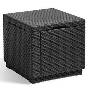 ALLIBERT JARDIN Table cube imitation rotin tressé avec rangement de 60 l – 42x42x39 cm – Graphite