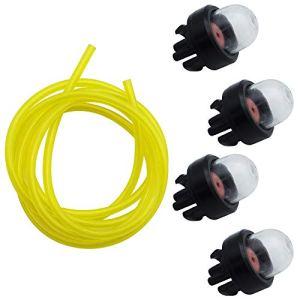 Ampoules D'amorce 4 Pièces Ampoule de Carburant Pompe Un Diamètre Intérieur 2,5 mm 5,5 mm de Diamètre Extérieur Durite de Carburant Jaune 1,5 m Accessoires de scie à Chaîne Universels