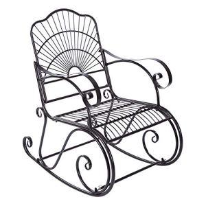 AYNEFY Chaise longue à bascule en fer Chaise à bascule simple dans le parc cour patio extérieur