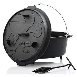 BBQ-Toro Dutch Oven Premium Série I déjà brûlé – pré-assaisonné I différentes Tailles I Casserole en Fonte I rôtissoire avec soulève-Couvercle ((D) – DO12P – 13,6 Liter, avec Pied)