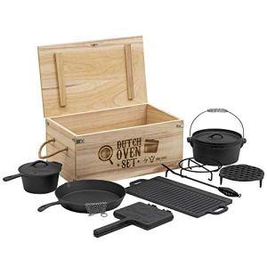 BBQ-Toro Set de Dutch Oven et boîte en bois | En fonte, déjà brûlée (10 pièces)