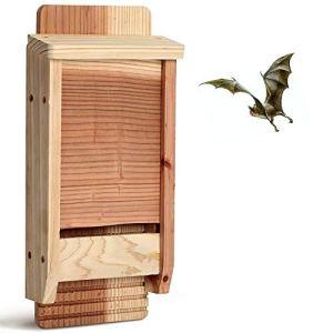 Bels nichoir Chauve Souris kit, Bois Naturel Bat Box 1 Chambres,abri pour Chauve-Souris 17X5.6X37cm(2 PièCes)