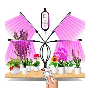 CCZMD Full Spectrum Grandir LED, La Lumière L'usine 4 Têtes, 360 ° LED Lumière Réglable Croître Usine Lumière, Lumière Grandir avec Minuterie pour Le Jardinage Bonsai,L