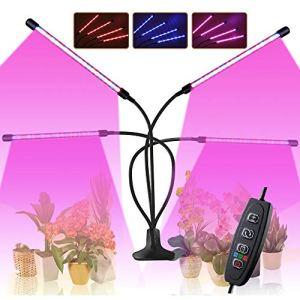 CXhome 80W Lampe LED Horticole Croissance Floraison Grow Light avec 360° Adjustable Agrafe 3/6/12H Cycle Minuterie 3 Modes 10 Luminosité