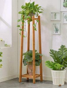 CZWYF Support de Pot en Bambou avec Grand Support pour Table, Petit Espace (2 Niveaux) / Brun (Size : 30x30x120cm)