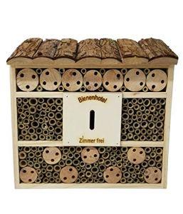 Dehner – Hôtel à Insectes – Natura Andrena – Dimensions 29,5 x 9,5 x 28,5cm, Bois de pin, Sapin, Bambou, contreplaqué, Naturel