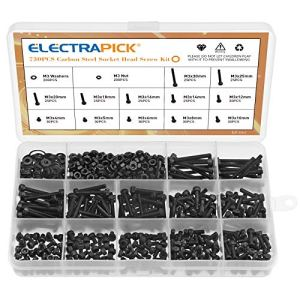 electrapick 730 pcs Vis à Tête Cylindrique Six Pans Creux en Acier au carbone avec Écrous Rondelles Plats Clé Mâle