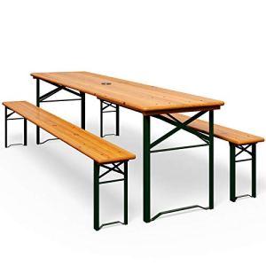 Ensemble Table bancs Bois Pliant Meuble de Jardin 3 Pieces Terrasse Fete Pliable