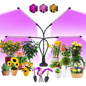 EWEIMA Lampe de Plante, 80 LEDs Lampe de Croissance Lampe Horticole LED pour Plantes à 4 Têtes Lampe pour Les Plantes, 3 Modes de Luminosité, 10 Niveaux Dimmables et 3 Modes de Minuterie (3/9/12H)