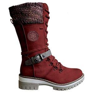 Femmes Chaussures Hiver Bottes Bottines Outdoor Bottes Bottes imperméables mi-Mollet Bottes Talon Bout Rond Femmes Rondes Bottes Toe