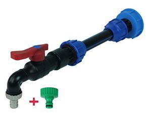 GASMIS IBC Adaptateur avec robinet et rallonge pour réservoir d'eau de pluie IBC Robinet de vidange en polypropylène.