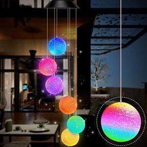 Gerhannery Carillon à LED solaire à spirales à changement de couleur pour jardin, étanche, décoration extérieure romantique pour terrasse, jardin avec crochet