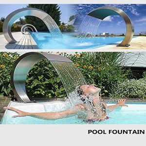 GonbObcxggr Fontaine de Piscine à Cascade en Acier Inoxydable pour piscines creusées Jardin extérieur (900 * 500mm)