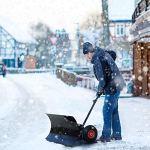 HENGMEI Chasse Neige Pelle à Neige avec Roues Outil de Déneigement pour le Nettoyage de la Chaussée du Jardin