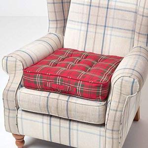 HOMESCAPES Coussin d'Assise rehausseur, Coussin de Sol en Coton à Carreaux écossais Rouge, 50 x 50 x 10 cm