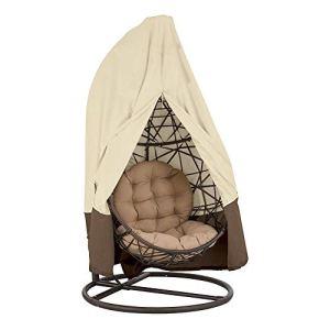 Housse de Fauteuil Suspendu Couverture de Chaise Suspendue Housse de Protection pour Oeufs Chaise Housses Imperméable pour Mobilier Balancelles de Jardin(Beige + Brown)