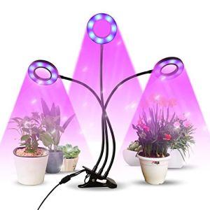 infinitoo LED Lampe de Plante, Lampe de Croissance à 3 Têtes 60 LEDs, Lampe Horticole Spectre Complet avec 9 Modes de Luminosité & Chronométrage Auto – on/Off, Parfait pour Intérieur/Jardin