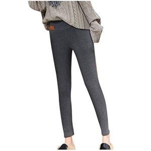 JXQ-N Legging Femmes Pantalon de Sport Solide Chaud Hiver Serré épais Velours Laine Pantalons en Cachemire Jegging Taille Haute Femme Yoga Opaque Doux (Gris S Taille)