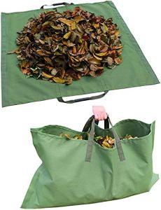 Lagaga Grand sac de jardin en toile imperméable avec poignée en caoutchouc pour extérieur, déchets de feuilles, plantes, herbe, pour jardin, pelouse, terrasse, piscine