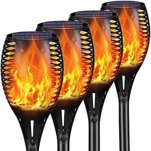 Lampe torche solaire d'extérieur à LED – 109,2 cm – Étanche – S'allume et s'éteint automatiquement – Pour jardin, cour, terrasse