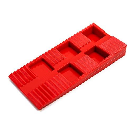 Lot de 130 cales en plastique de qualité supérieure – Cales en plastique comme entretoises – Planches de terrasse et fenêtres – Cales de roue, plaques d'espacement, cales de montage – Couleur : rouge