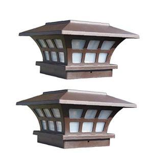 Luminaires solaires de jardin, 2PCS solaire Powerd lampe rétro pilier étanche Lampe traditionnel antique Chemin d'éclairage en verre Lanterne Lampe de table pour antipluie Pathway éclairage