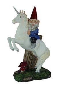 Magical Adventure Figurine de nain de jardin sur pelouse licorne 33 1/2 cm