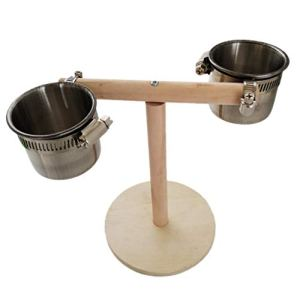 Mangeoire à oiseaux, supports de jeu pour oiseaux avec gobelets en acier inoxydable Perche d'entraînement pour perroquet