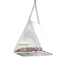 Mangeoire à oiseaux transparente Triangle Fenêtre suspendue Mangeoires en acrylique à l'extérieur de la cabane à oiseaux avec poteau debout Capacité d'alimentation élevée pour la vue rapprochée à