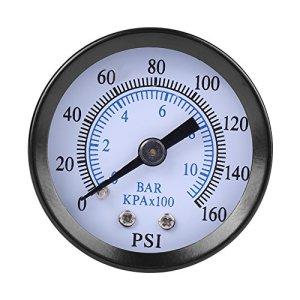 Mini-manomètre tout usage Double échelle pneumatique et hydraulique Pour l'huile l'air Carburant Eau 0-160psi / 0-10bar Filetage 1/8″NPT