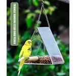 Montloxs Mangeoire à Oiseaux Transparente Triangle Fenêtre Suspendue Mangeoires en Acrylique à l'extérieur de la cabane à Oiseaux avec Poteau Debout Capacité d'alimentation élevée