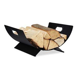Relaxdays 10034189 Bois de cheminée, en métal, Corbeille pour Rangement de bûches, 18,5 x 40 x 33 cm Gros Panier Noir, 1 unité