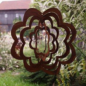 Rostalgie Carillon éolien en en forme de spirale avec fleur en patine – Diamètre : 27 cm – Décoration de jardin ou de fenêtre