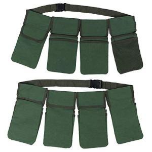 Sac à outils de jardin, toile épaisse, très pratique avec poches de rangement séparées, ceinture de rangement pour outils, durable vert pour jardinier hommes femmes