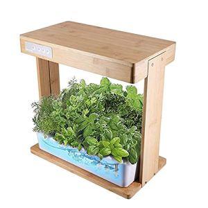 Sarazong Système De Culture Hydroponique, Lumière De Croissance De Jardinage Intérieur avec Cadre en Bambou Plante Grandir Boîte Armoire Jardin Intelligent Intérieur pour Plantes
