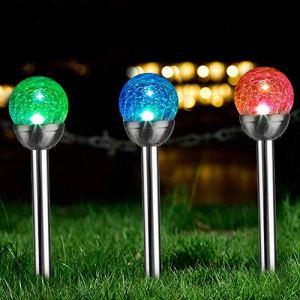 Solpex Lot de 3 Lampes solaires de Jardin à énergie Solaire, changeant de Couleur et Deux LED Blanches, Boules décoratives pour Patio, pelouse, Cour, Chemin, Paysage. (Verre craquelé)