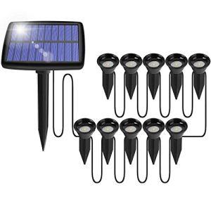 Spot de jardin LED 10 en 1, lampe solaire de jardin lumière décorative, IP65, étanche blanc chaud, lampes solaires pour extérieur, pelouse, terrasse, allée