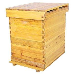 Sugoyi Boîte à couvain, boîte en Bois de cèdre avec Une boîte de 10 Cadres pour l'apiculture Kit pour l'apiculture