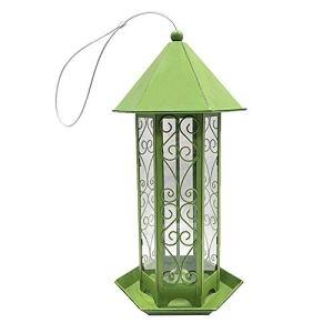 Sunydog Mangeoire à Oiseaux Panorama, en Forme d'hexagone avec mangeoire à Oiseaux Suspendue au Toit pour la décoration de Jardin (Vert)