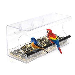 Sunydog Mangeoire à Oiseaux pour fenêtre en Acrylique Transparent avec 3 ventouses et Trous de Drainage