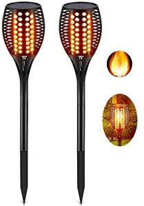 TaoTronics Lot de 2 Torches solaires de Jardin avec Flammes réalistes et étanchéité IP65 Lampes solaires pour l'extérieur