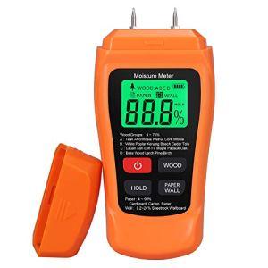 Testeur d'Humidité à Main Appareil de Mesure d'Humidité du Bois LCD pour les Industries du Bois / Papier / Matériaux de Construction.Inclut une Batterie 2 * AAA avec 2 Broches de Sonde de Test
