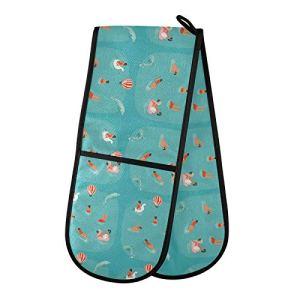 TropicalLife JinDoDo Gants de four double pour piscine, dauphin, montgolfière, résistant à la chaleur
